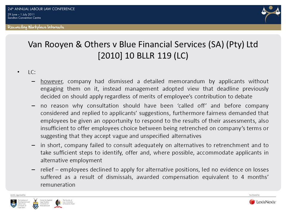 Van Rooyen & Others v Blue Financial Services (SA) (Pty) Ltd [2010] 10 BLLR 119 (LC)